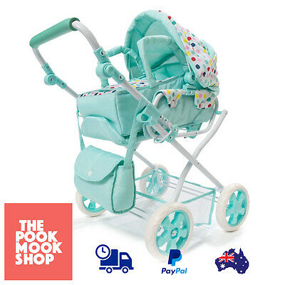 Spot Doll Pram & Bag 3 Set Baby Green Stroller Play Girls Dolls Carriage, Wheels