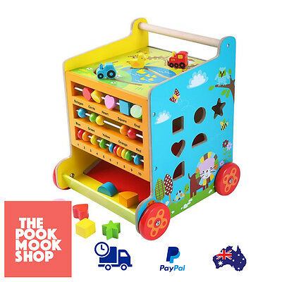 Baby 6 In 1 Activity Toddler Cube & Walker Wood Learning Educational Push Wheels