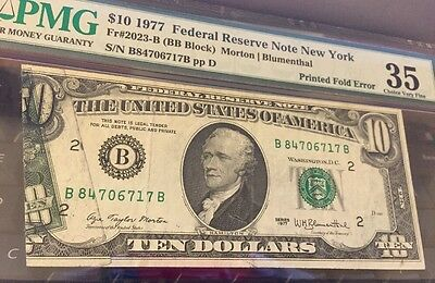 1977 $10 PRINTED-OVER FOLD ERROR Note (6717B)