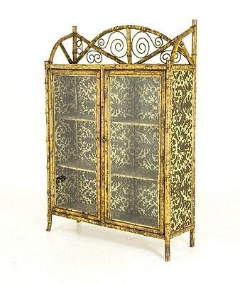 B564 Antique Scottish Victorian Bamboo Two Door Bookcase, Cabinet, Etagere