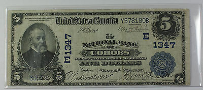1902 Plain Back $5 National Currency Banknote Cohoes New York Charter # E 1347