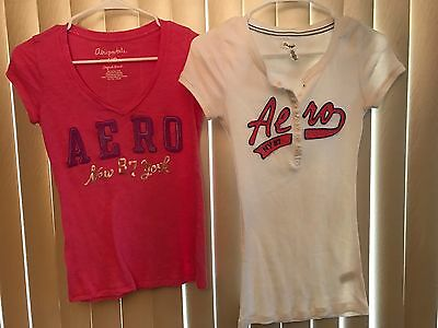 Juniors Sz S Lot of 2 Aeropostale Pink And White Tops