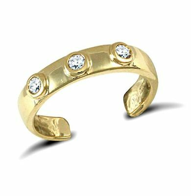 New Hallmarked Solid 9ct Yellow Gold CZ Trilogy Band Toe Ring