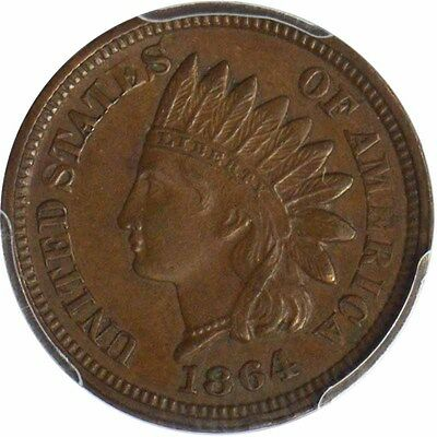 1864 1C Bronze Indian Cent PCGS AU58BN