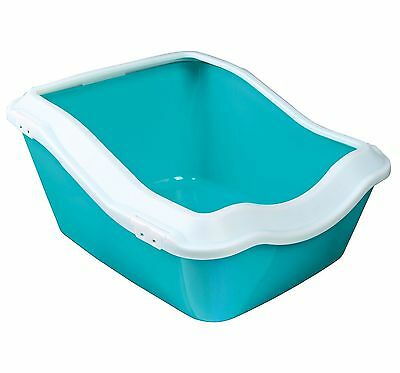 Trixie Cleany Cat Litter Tray with Rim 45 x 21 x 54 cm White/Aquamarine