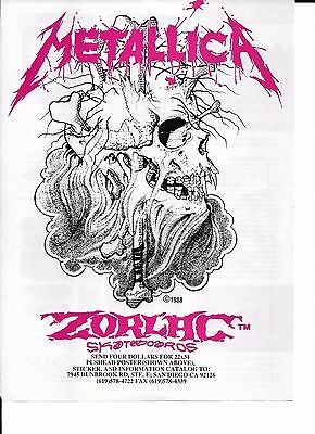 METALLICA / PUSHEAD Zorlac Skateboards FRAMED VINTAGE AD 1988. Skate Rock