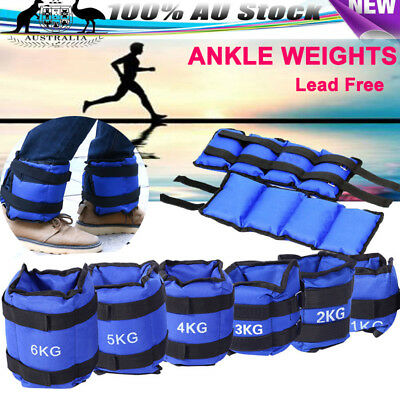 NEW 2PCS ADJUSTABLE ANKLE WEIGHTS GYM EQUIPMENT WRIST FITNESS YOGA 1/2/3/4/5/6kg
