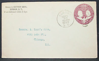 US Postal History Stationery ADV Cover Hudson 1893 GS 2c USA Brief (H-10189