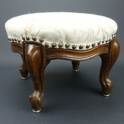 Victorian Antique Vintage Round Floral Needlepoint Foot Stool Carved Ottoman