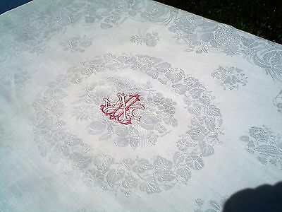 Antique Fine Linen Damask Tablecloth w/Embroidered Cartouche