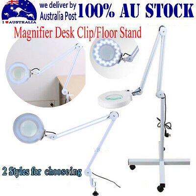 Chic Magnifying Lamp Glass Lens Round Head LED Magnifier Desk Clip/Floor Stand I
