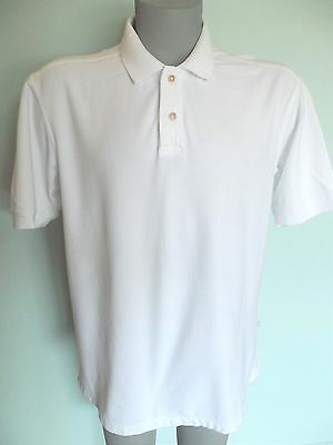 Tommy Bahama Polo Men'S Shirt Size Xl Solid White Short Sleeve Cotton