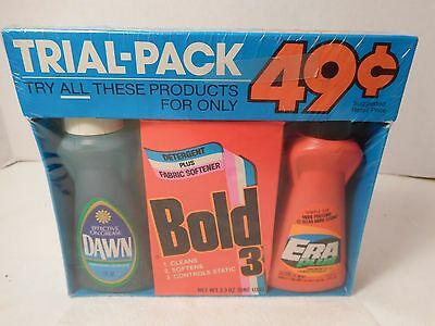 Vintage Trial Pack Era and Bold Detergent and Dawn Dish Soap 3 Oz. Each