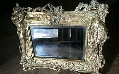 Vintage Gilded Cast Iron Frame with Beveled Glass Mirror circa 1900