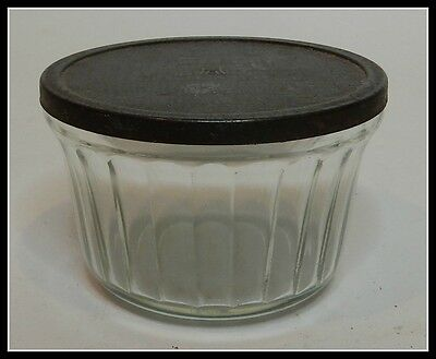 Vintage Glass Hazel-Atlas Jelly Jar with Original Tin Lid in Great Condition   e
