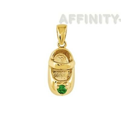 May Birthstone Emerald Engravable Baby Shoe Charm in 14K Yellow Gold