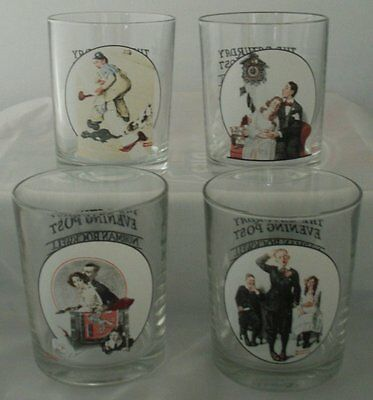 Norman Rockwell Saturday Evening Post Glasses Set of 4