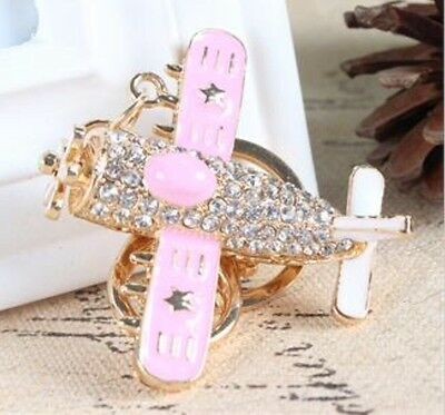 Helicopter Plane Stars Pendant Crystal Purse Bag Key Ring Keychain Creative Gift