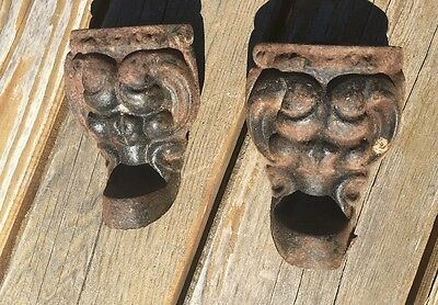 2 Antique VTG Rare Gargoyle Gothic Cast Iron Claw Foot Bath Tub Stove Feet Legs