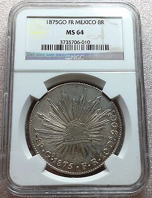 1875 Go FR Mexico Cap & Rays 8 Reales NGC MS64 High Grade