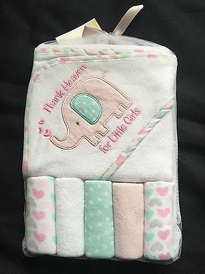 Baby Hooded Towel & Washcloth Gift Set Girls Shower Elephant Thank Heaven Pink