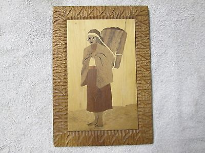 Vintage Inlaid Wood, Wooden Wall Plaque-Woman with Basket-Signed