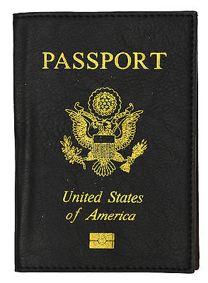 Travel Leather Passport Organizer Holder Card Case Protector Cover Wallet Black