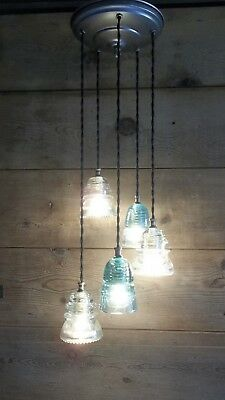 Glass Insulator Light Fixture VINTAGE GLASS Chandelier U CHOOSE HOW U WANT IT