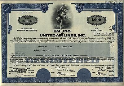 UAL, Inc. United Air Lines $1,000 Bond Stock Certificate