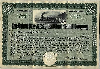 United New Jersey Railroad & Canal Company Stock Certificate Green