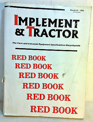 1992 Implement & Tractor Red Book Farm and Industrial Equipment Specs 76th(5063)