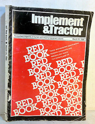 1986 Implement & Tractor Red Book Farm and Industrial Equipment Specs 70th(5065)