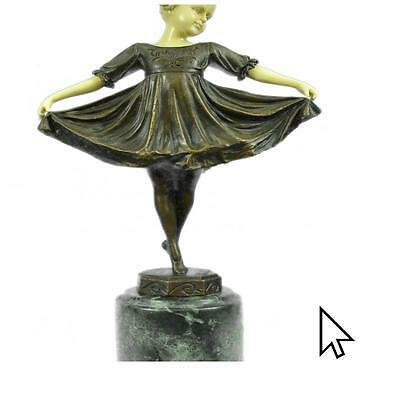 Signed Baby Girl On Stage Bone Bronze Sculpture Statue FigurineSW