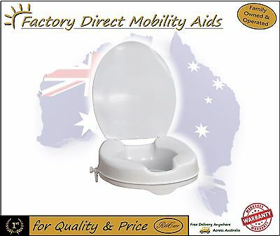 """Aspire Clip On Raised Toilet Seat 2"""" 50mm With Lid Toilet Aid"""