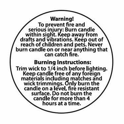 Round 2inch/50mm Candle Making Warning Labels Candle Making Supplies