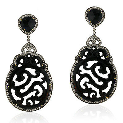 65.53ct Black Onyx Pave Diamond Carved Dangle Earrings 18kt Gold Silver Jewelry
