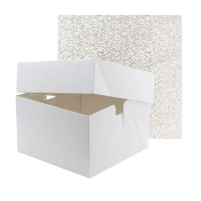 "White Birthday Wedding Cake Box Boxes & Lid 6"" High With Board"