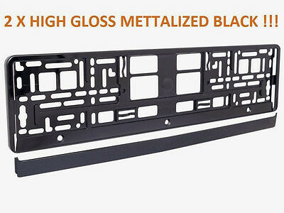 2 x High Gloss Mettalized Black  Number Plate Surrounds Holder Frame