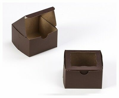 25-4x4x2.5 Bakery boxes cookie cupcake muffin donut box Dark Brown with window