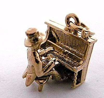 Vintage  HONKY-TONK PIANO PLAYER articulated RARE 9ct gold small mobile charm