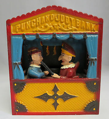 VINTAGE MECHANICAL CAST IRON Punch And Judy WORKING BANK