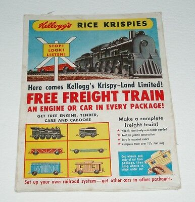 1950's Rice Krispies Cereal Box back w/ Plastic Freight Train offer