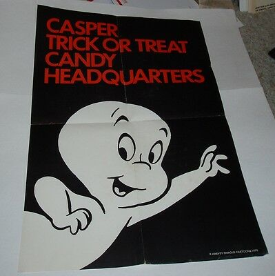 1970 CASPER the GHOST Candy Halloween Trick Or Treat Store Grocery Poster