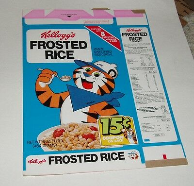 1980 Kelloggs Frosted Rice Cereal Box w/ Tony the Tiger Jr