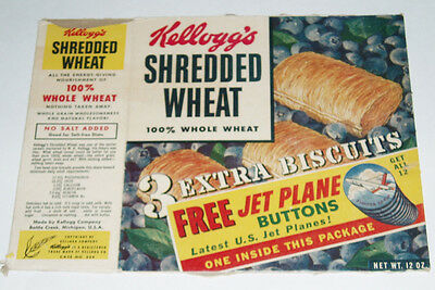 1950's Kellogg's Cereal Box w/ JET PLANE BUTTON Offer & Tony Tiger Tablecloth