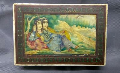 Antique Old Persian Middle Eastern Oil Painting Inlaid Wood Box Wooden Signed
