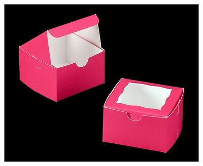 25-4x4x2.5 Bakery boxes cookie cupcake muffin donut box Pink with window