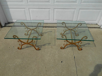 Vintage Hollywood Regency MidCentury Matching Wrought Iron & Glass End Tables