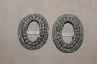 Pair Of Cut Steel Shoe Buckles French Belle Epoque/edwardian C1910
