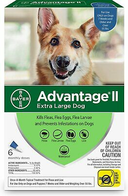 Advantage II for Extra Large Dogs (Over 55 lbs, 6 Pack) USA EPA Approved
